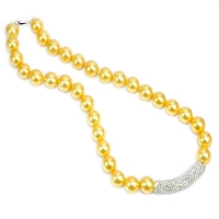 Yellow Gold Shell Pearl Crystal Bar Necklace