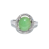 Grade A Jade Simple Oval Cubic Zirconia 925 Silver Ring