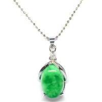 Green Quartz Pendant With Chain - Apple Oval