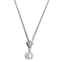 Fresh Water Pearl Peacock Cubic Zirconia Pendant With Chain