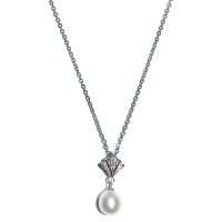 Fresh Water Pearl Scout Cubic Zirconia Pendant With Chain
