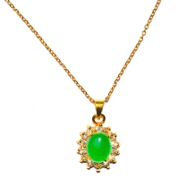 Green Quartz Pendant With Chain - Encircle Oval Gold
