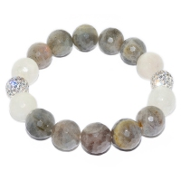 Labradorite Mix Moonstone With Russian Zirconia Bracelet