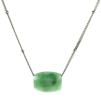 Grade A Jade Barrel Pendant In 925 Silver Chain