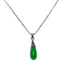 Green Quartz Pendant With Chain - Cap Teardrop Silver