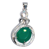 Green Onyx Side Oval 925 Silver Pendant