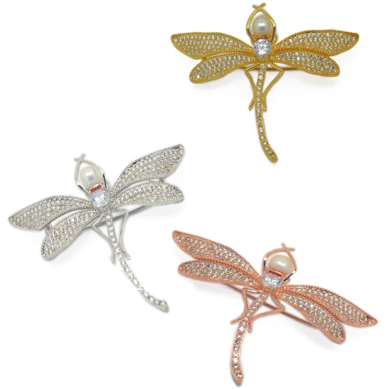 Fresh Water Pearl Dragonfly Brooch
