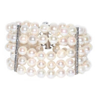 Japanese Akoya Pearl 5 Layer 7-7.5MM 925 Silver Bracelet