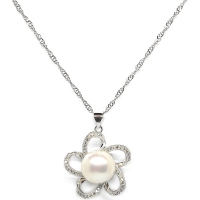 Fresh Water Pearl Cubic Zirconia Flower Pendant With Chain