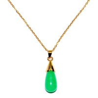 Green Quartz Pendant With Chain - Cap Teardrop Gold
