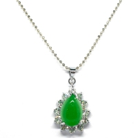Green Quartz Pendant With Chain - Encircle Teardrop