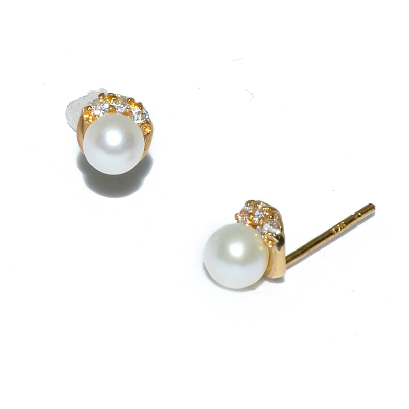 Fresh Water Pearl Half Moon Cubic Zirconia 9K Earring