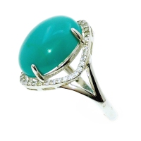 Natural Turquoise Oval 925 Silver Ring