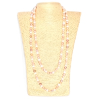 Fresh Water Pearl Potato 8-9MM Long Necklace - White,Pink & Purple