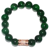 Green Quartz 9.5MM Cabochon with Cubic Zirconia Barrel Bracelet
