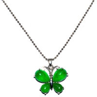 Green Quartz Pendant With Chain - Butterfly