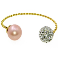 Mystic Twist Russian Zirconia & Shell Pearl Bangle - Pink