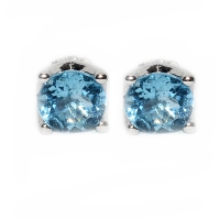 Blue Topaz Round Facets 4 Points 925 Silver Earring
