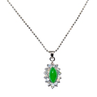Green Quartz Pendant With Chain - Ellipse Cubic Silver