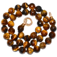 Tiger Eye With Cubic Zirconia Clasp Necklace