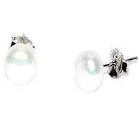 Fresh Water Pearl Button 6-7MM Stud 925 Silver Earring - White