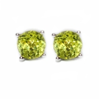Peridot Round  Facets 4 Point 925 Silver Earring