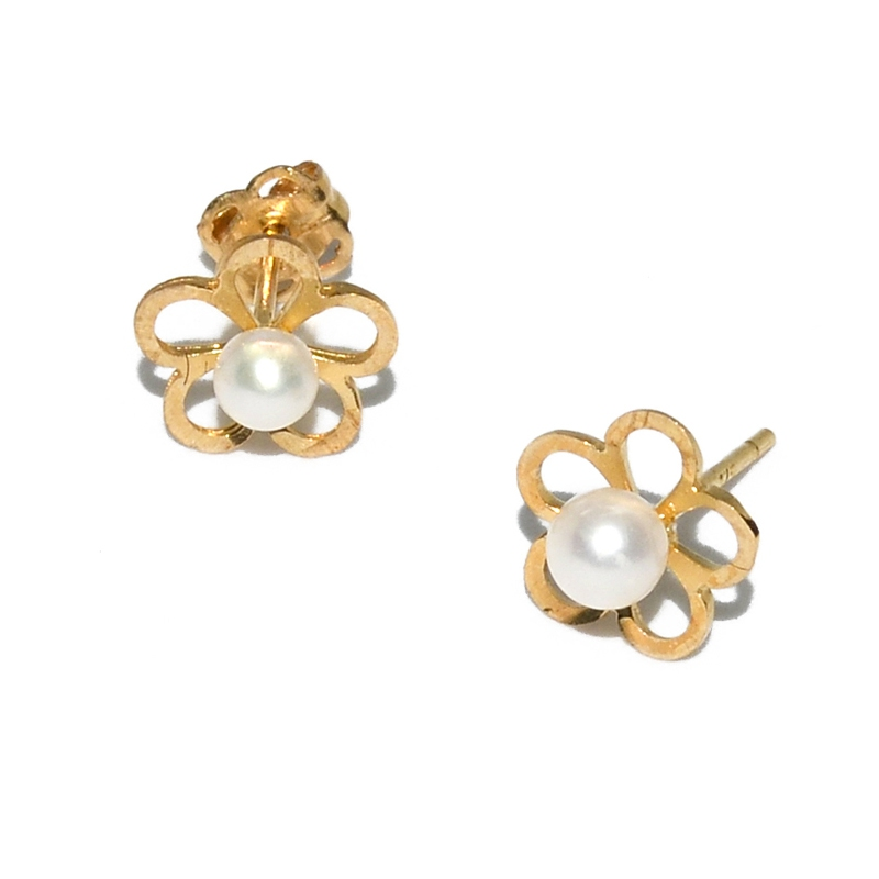 Fresh Water Pearl 5 Petal Circle Flower 9K Earring